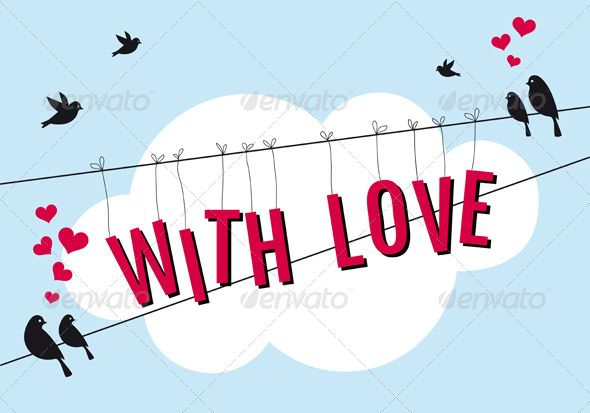 GraphicRiver Birds on Wire with Love in Blue Sky 5733612