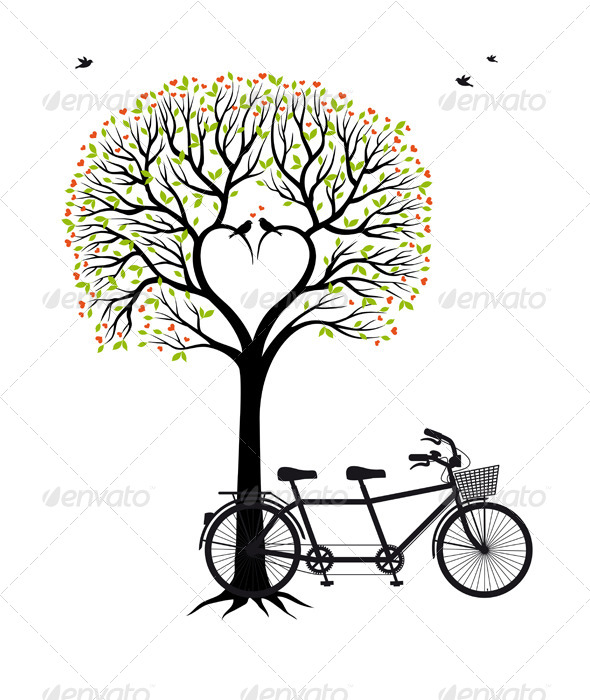 GraphicRiver Heart Tree with Birds and Bicycle 5733646