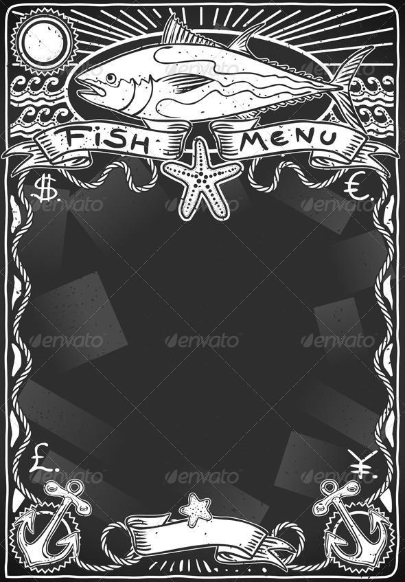 GraphicRiver Vintage Graphic Blackboard for Fish Menu 5306506