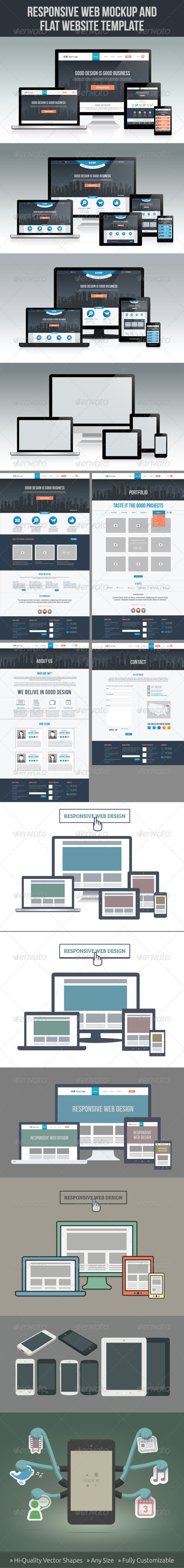 Responsive Screen Mockup Set - Computers Technology