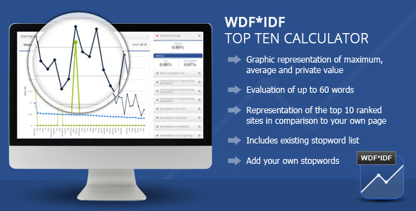 With the WDFIDF Top Ten Calculator wordpress Plugin you can optimize your texts for search engines according to the latest rules. Keyword-Density was yesterday!