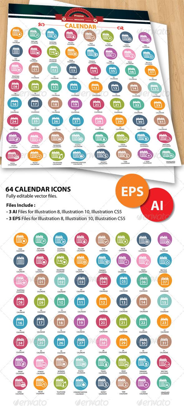 GraphicRiver 64 Calendar Icons 5734069