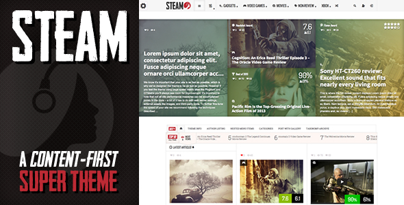 ThemeForest Steam Responsive Retina Review Magazine Theme 5734392