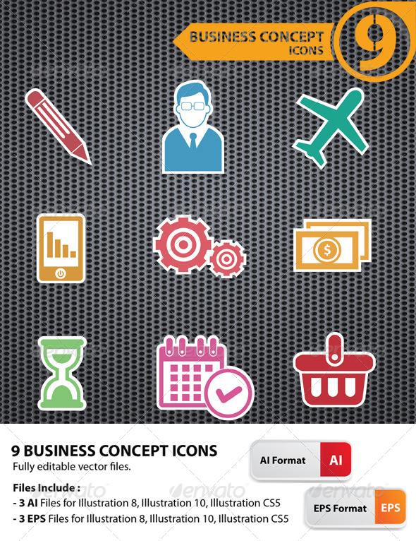 GraphicRiver 9 Business Concept Icons 5734759