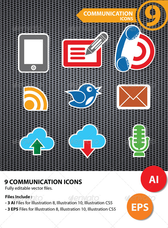 GraphicRiver 9 Communication Icons 5734805