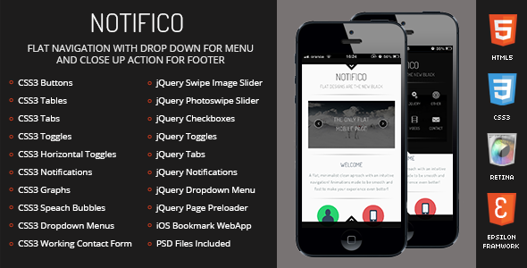 Notifico Mobile Retina | HTML5 & CSS3 And iWebApp - Mobile Site Templates