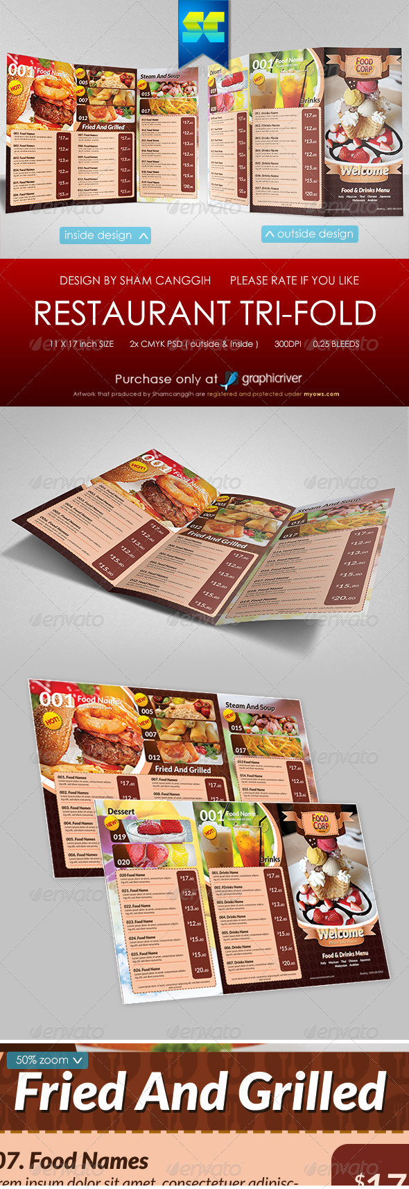 GraphicRiver Tri-Fold Restaurant Menu Template 5735353