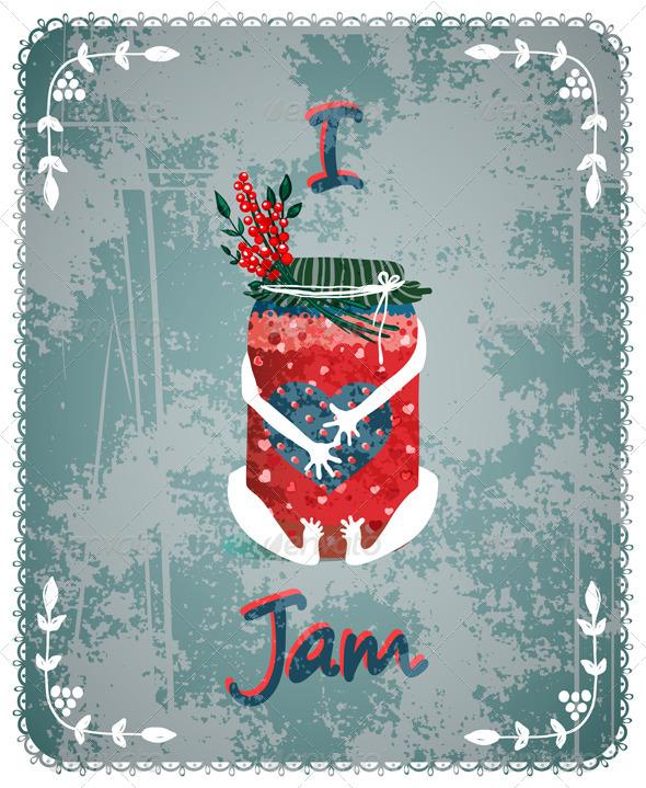 GraphicRiver I Love Jam Vintage Advertisement Poster Concept 5735381