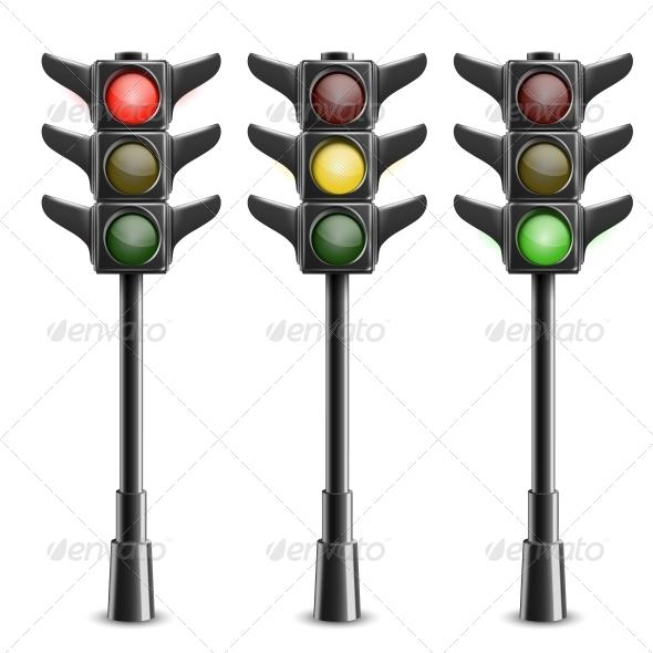 GraphicRiver Black Traffic Lights on Pole 5735640