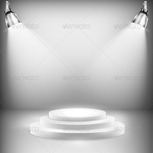 GraphicRiver Shiny Stage Illuminated by Spotlights 5735649