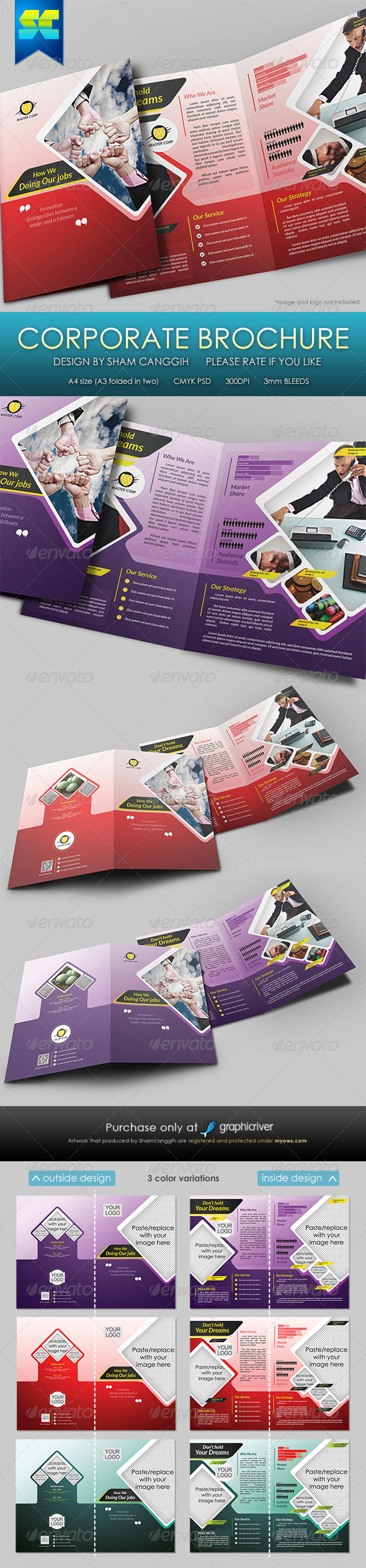 Modern 4 Pages Bi-Fold Corporate Brochure - Corporate Brochures