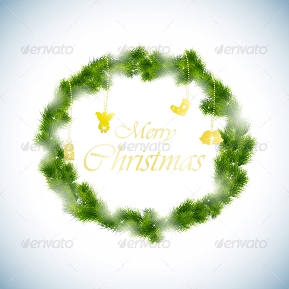 GraphicRiver Green Christmas Wreath Background 5735676