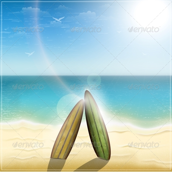 GraphicRiver Old Surf Boards on Ocean Beach 5735739