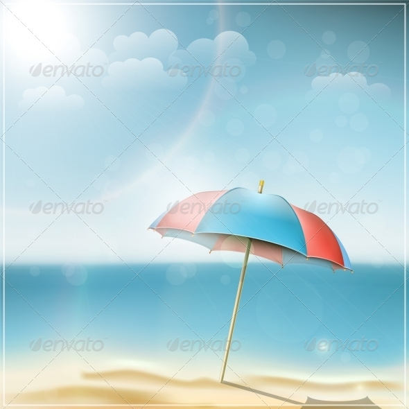 GraphicRiver Summer Day on Ocean Beach with Umbrella 5735752