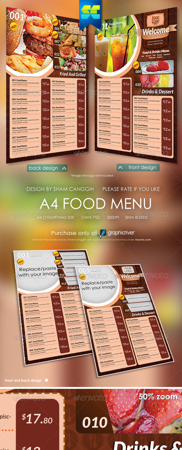 A4 Size Restaurant Menu - Food Menus Print Templates