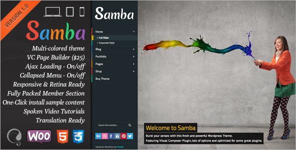 ThemeForest Samba Colored Wordpress Theme 5691055