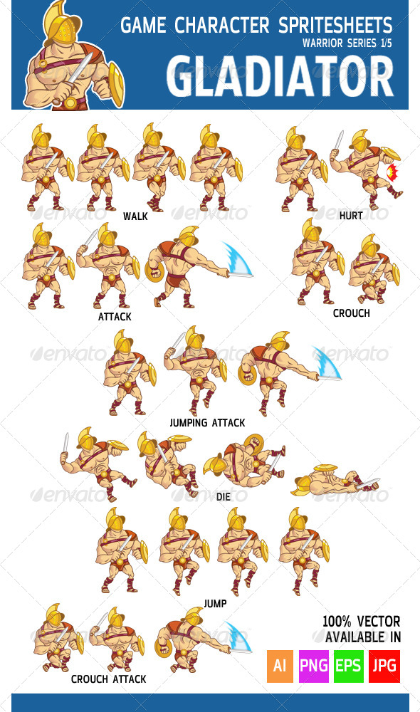 GraphicRiver Gladiator Game Character Sprite 5706752