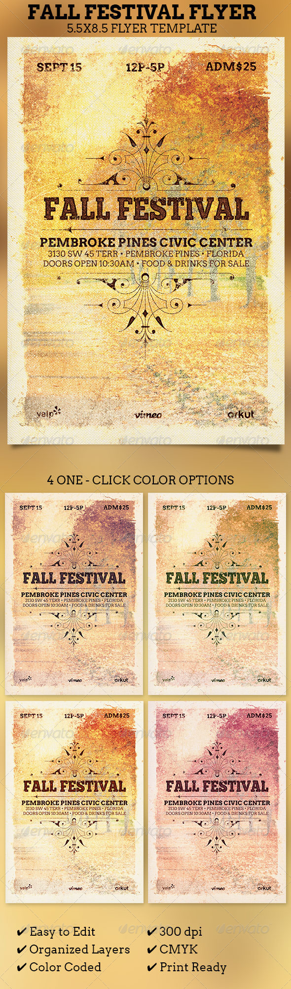 Fall Festival Flyer Template  - Church Flyers