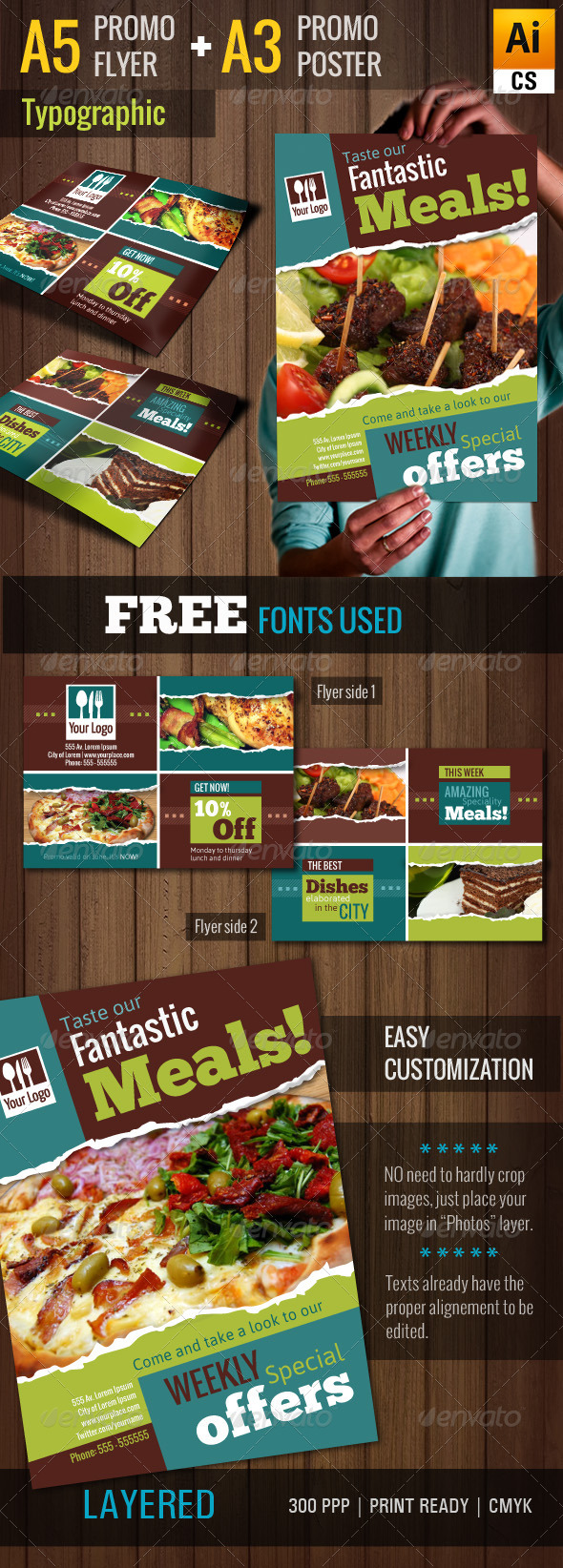 GraphicRiver Typographic Restaurant Promo Poster Flyer A3 A5 5737624