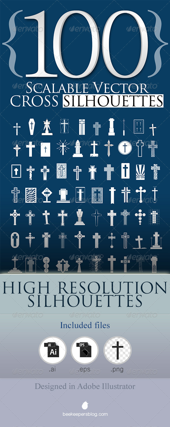 GraphicRiver 100 Scalable Vector Cross Silhouettes 5719982