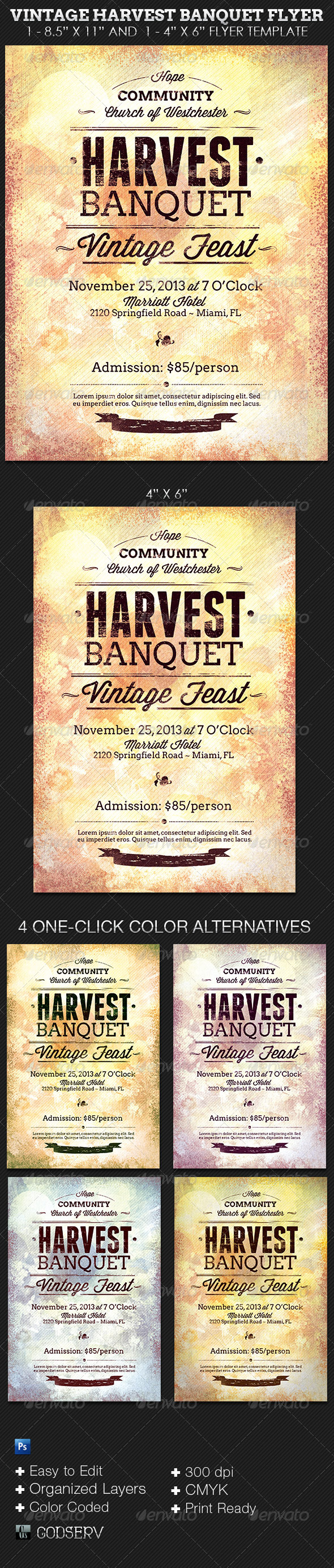 Vintage Harvest Banquet Flyer Template - Church Flyers