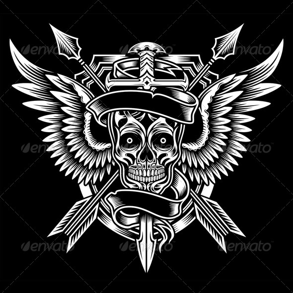 GraphicRiver Winged Skull with Sword and Arrows 5737891