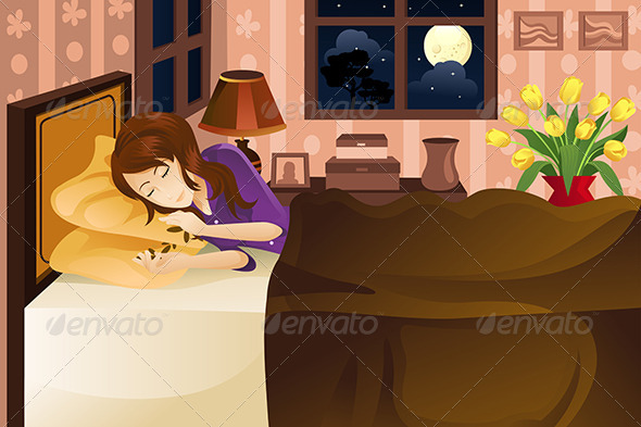 GraphicRiver Woman Sleeping on Bed 5738141