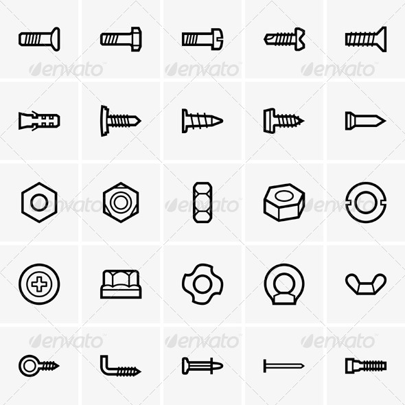 GraphicRiver Screws and Nuts 5738294