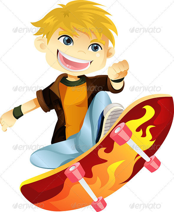 GraphicRiver Skateboarding Boy 5738326