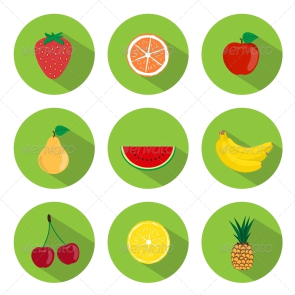 GraphicRiver Fruits Flat Icons 5738553