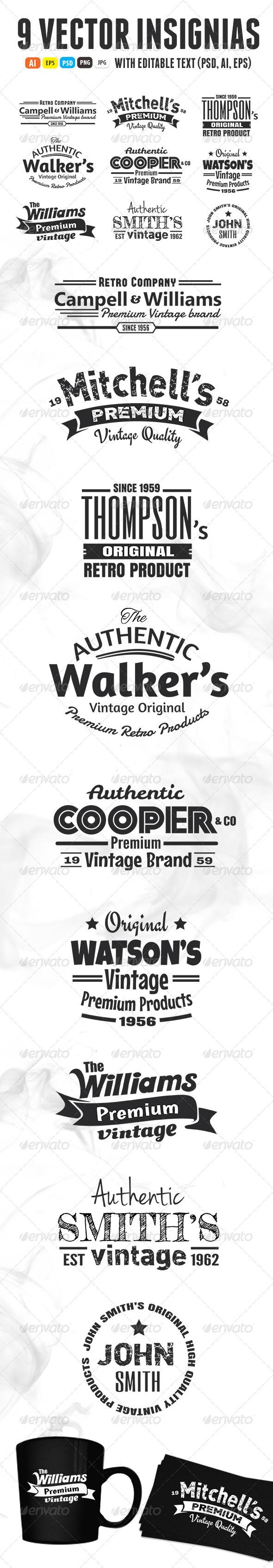 GraphicRiver 9 Vintage Insignias 5739119