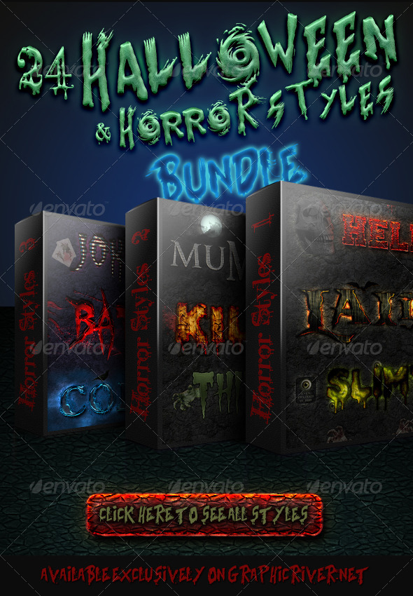 GraphicRiver Halloween And Horror Styles Bundle 5739425