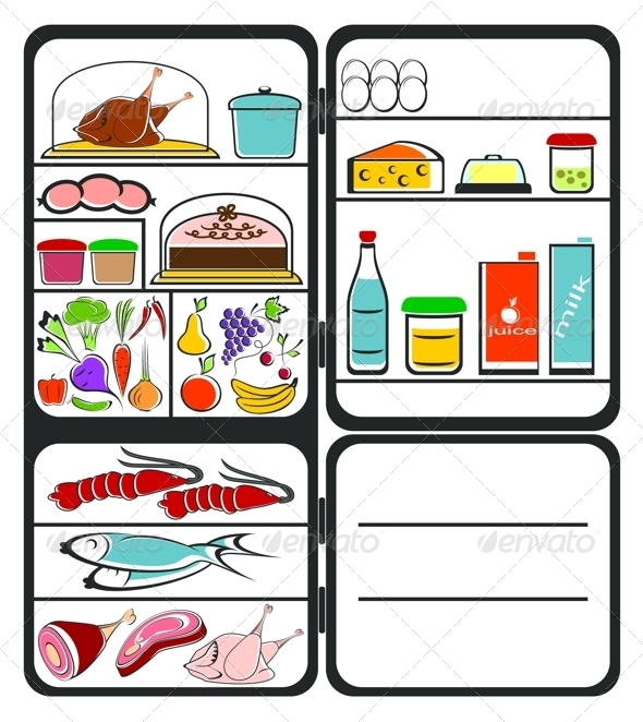 GraphicRiver Refrigerator with Food 5739445