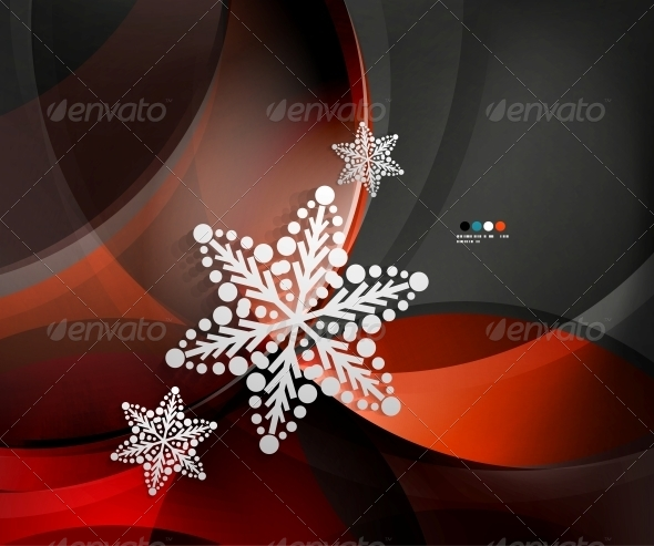 GraphicRiver Abstract Christmas Wave Snowflake Background 5739525