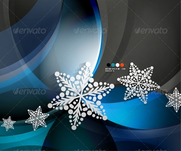 GraphicRiver Abstract Christmas Wave Snowflake Background 5739532
