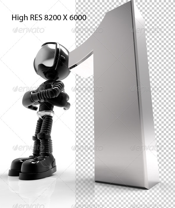 GraphicRiver 1st 3D Black Character With Silver Number One 5739640