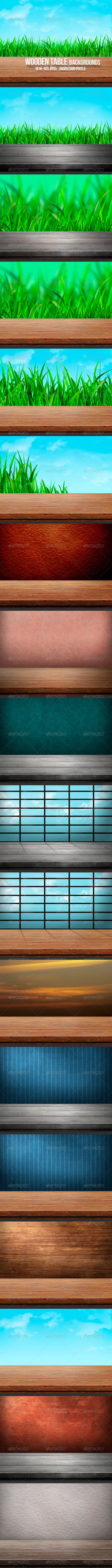GraphicRiver Wooden Table Backgrounds 5717657