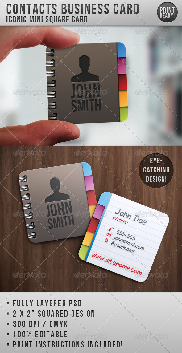Contacts Business Card - Creative Business Cards