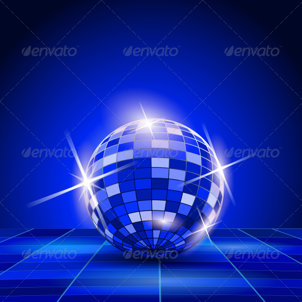 GraphicRiver Blue Party Background of Disco Ball 5740422