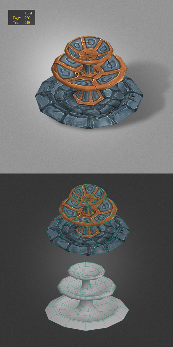 3DOcean fountain low poly 4839688