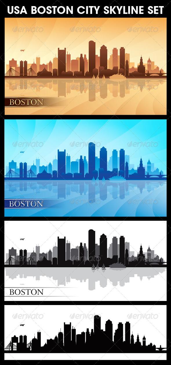 GraphicRiver Boston USA City Skyline Silhouettes Set 5740499
