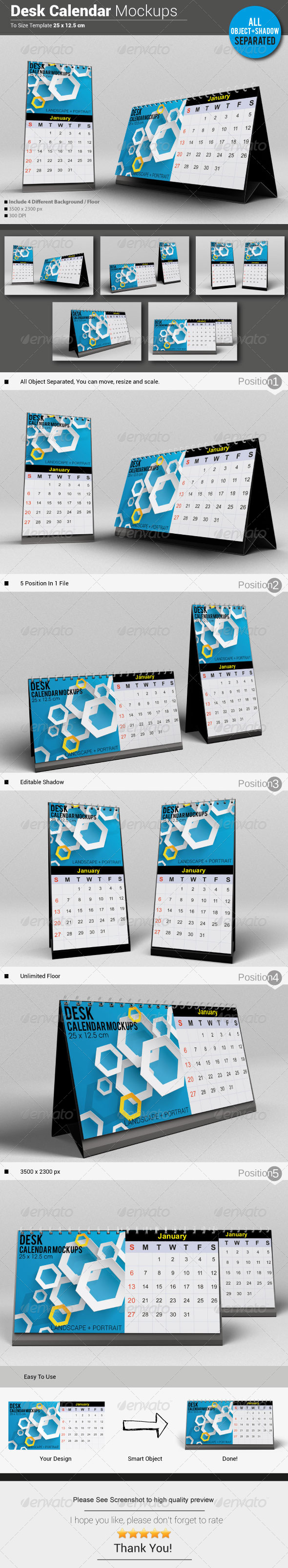 GraphicRiver Desk Calendar Mockups 5740942