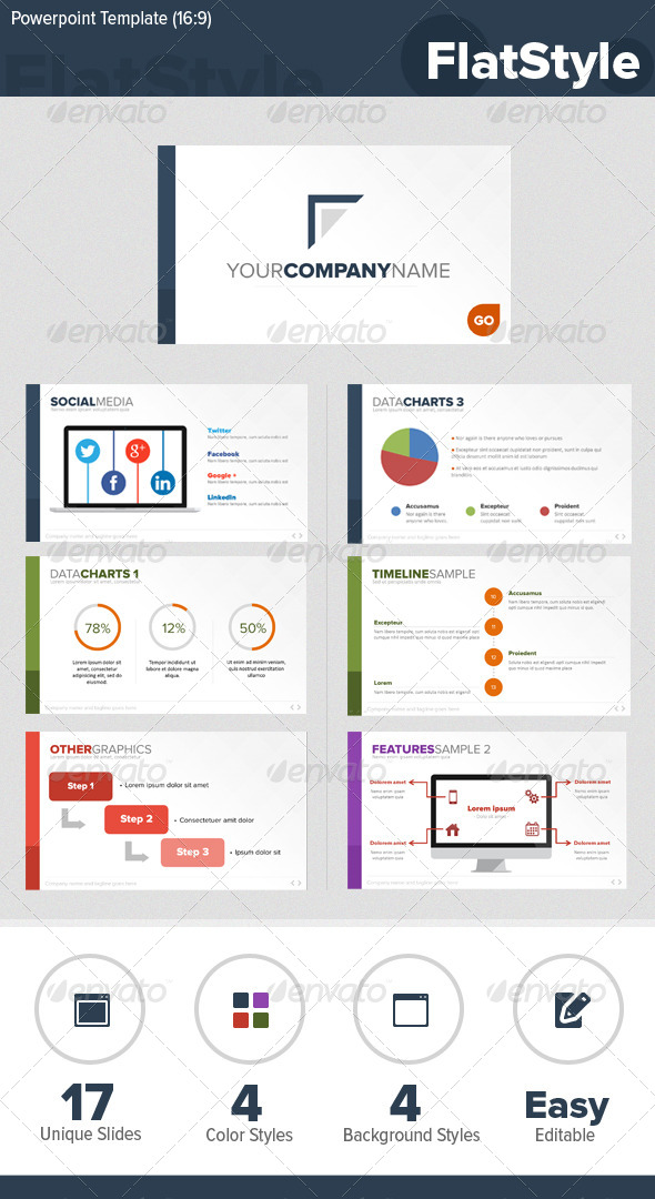 GraphicRiver Flat Style Powerpoint Template 5717997