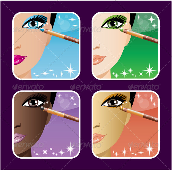 Set of Makeup Application Icons