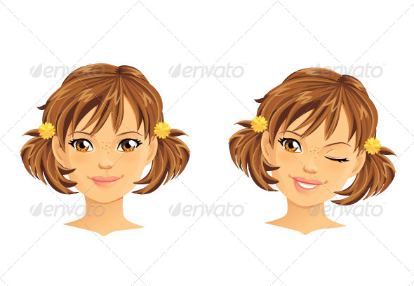 GraphicRiver Girl with Two Ponytails Winking and Smiling 5741538