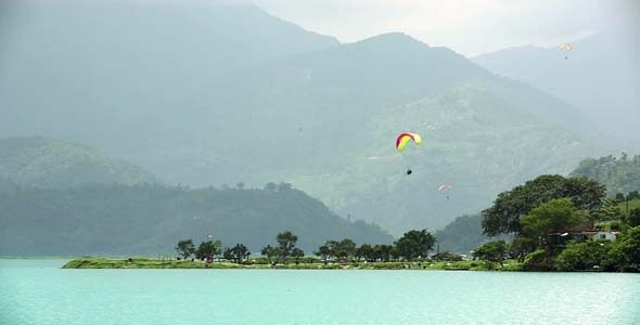 VideoHive Paraglides In The Sky Over Lake 3 5741802