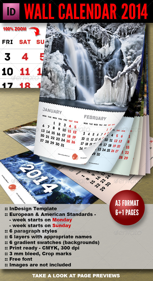 GraphicRiver Wall Calendar 2014 7 pages A3 5741941