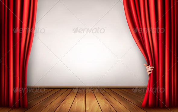 GraphicRiver Background with Red Velvet Curtain and Hand 5742029