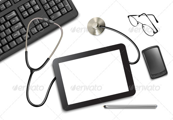 GraphicRiver Tablet Touch Pad and Office Supplies on the Table 5742031