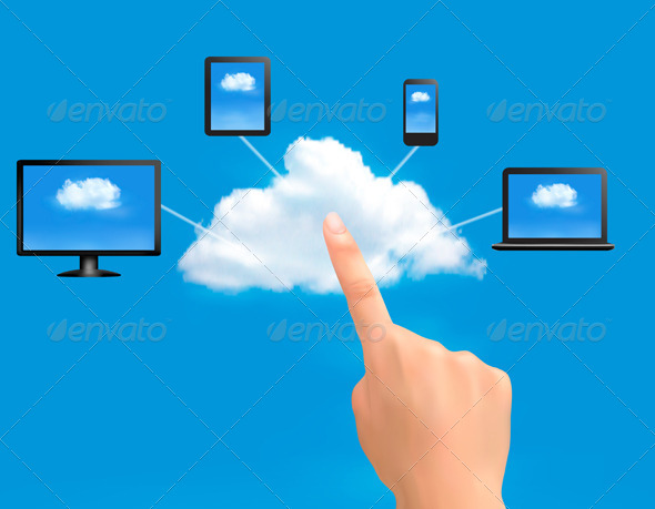 GraphicRiver Cloud Computing Concept Background with Hand 5742035